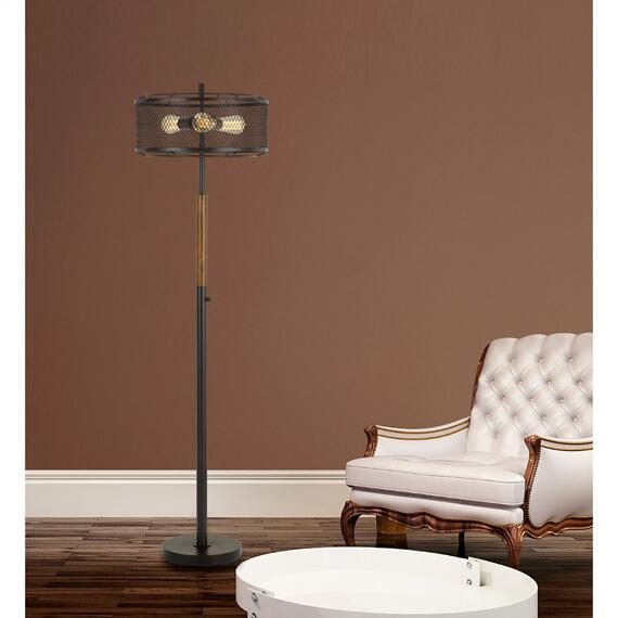 60W X 3 Dawson Metal/Wood Floor Lamp With Metal Mesh Shade (Edison Bulbs Not Included)