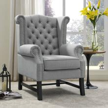 Steer Upholstered Fabric Armchair in Light Gray