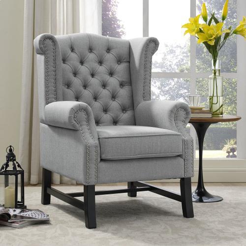 Steer Upholstered Fabric Armchair in Light Gray