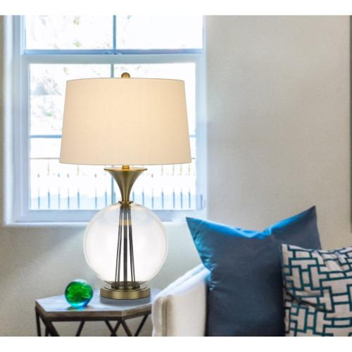 Cal Lighting & Accessories - 150W 3 way Moxee glass/metal table lamp with hardback taper drum fabric shade