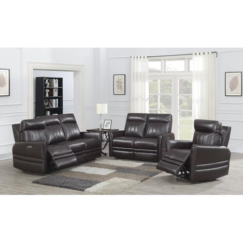 Coachella Dual Power Recliner Loveseat, Brown