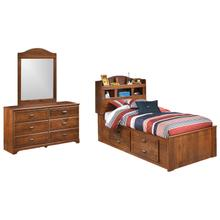 Twin Bookcase Bed With 4 Storage Drawers With Mirrored Dresser