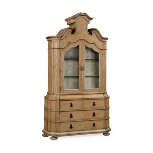 Oulton Vintage Oak Cabinet with Glass Doors & Glass Shelves