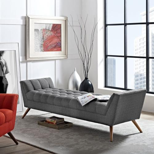 Response Upholstered Fabric Bench in Gray