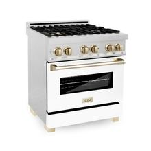 """See Details - ZLINE Autograph Edition 30"""" 4.0 cu. ft. Dual Fuel Range with Gas Stove and Electric Oven in DuraSnow® Stainless Steel with White Matte Door and Accents (RASZ-WM-30) [Color: Matte Black]"""