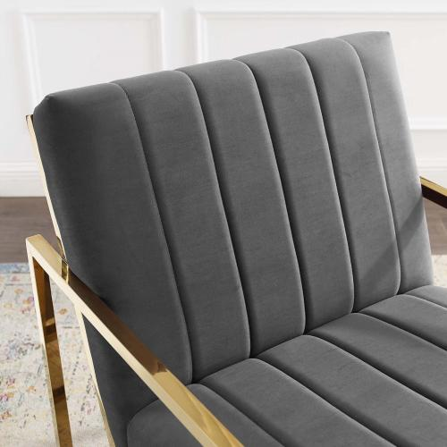 Inspire Channel Tufted Performance Velvet Armchair in Charcoal