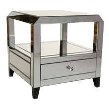 Montreal Mirrored Square Accent Table w/Drawer
