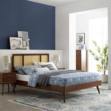 Kelsea Cane and Wood Full Platform Bed With Splayed Legs in Walnut