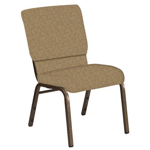 Flash Furniture - 18.5''W Church Chair in Martini Coffee Fabric - Gold Vein Frame