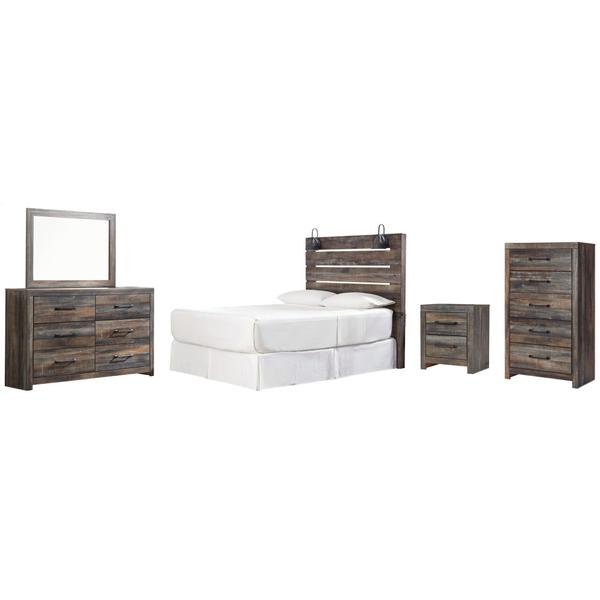 Queen Panel Headboard With Mirrored Dresser, Chest and Nightstand