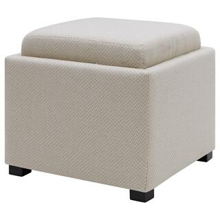 Cameron Square Fabric Storage Ottoman w/ tray, Cardiff Cream