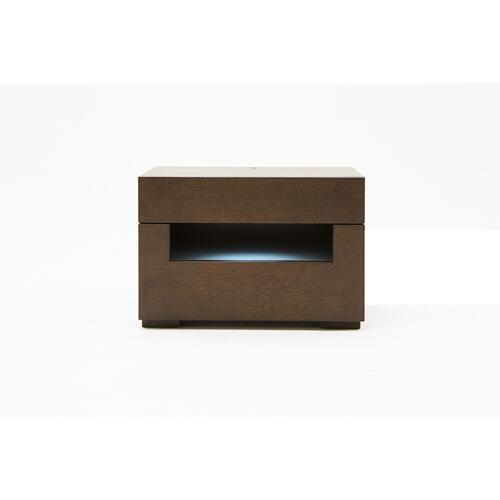 Ceres Modern Brown Oak and Grey Nightstand