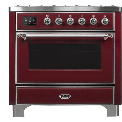 Majestic II 36 Inch Dual Fuel Liquid Propane Freestanding Range in Burgundy with Chrome Trim