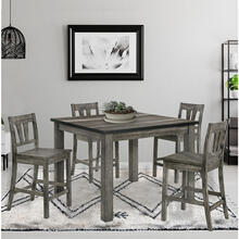 Cambridge Drexel 5-Piece Counter-Height Dining Set: 41-In. Square Table and 4 Chairs with Wood Seats, 982006-WD5PC-WG