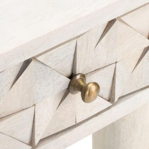 Zinnia Desk - White Wash / Brass