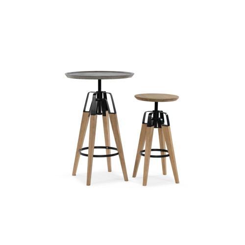 Modrest Yates Modern Concrete & Oak Bar Table