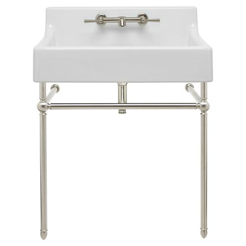 """Dxv - Oak Hill 24"""" Bathroom Sink with Console - Canvas White / Brushed Nickel"""