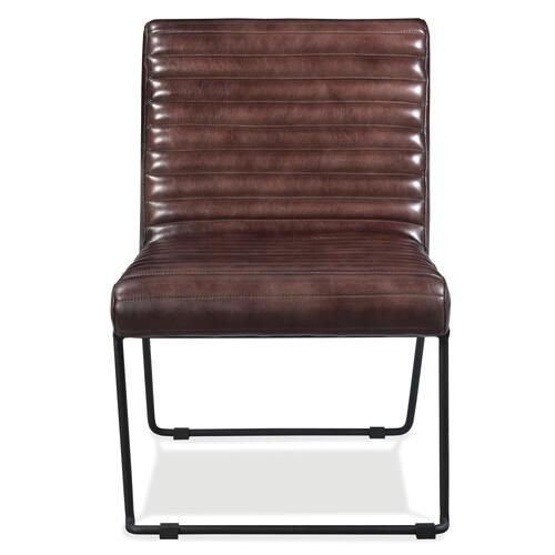 Mix-n-match Chairs - Horizontal Tufted Leather Side Chair - Obsidian Finish