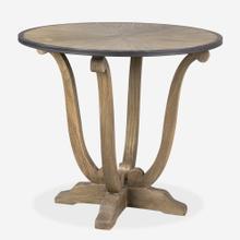"33"" Lotus Pedestal Accent Table, Brown"