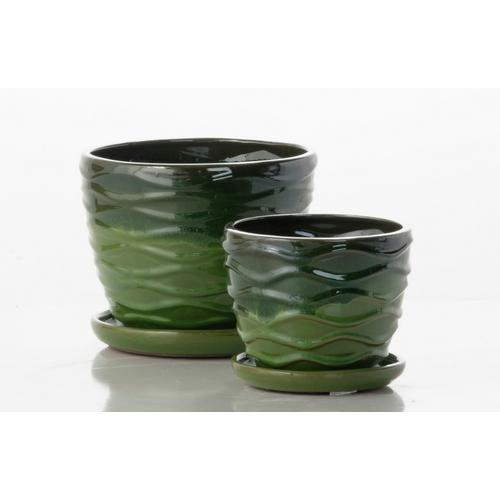 Round Willow Petits Pots w/ attached saucer - Falling Green (set of 2)