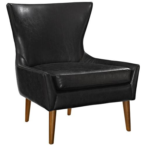 Keen Upholstered Vinyl Armchair in Black