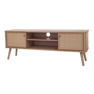"""See Details - Thelma KD 59.5"""" Rattan TV Stand, Natural Oak (ASSEMBLY REQUIRED)"""