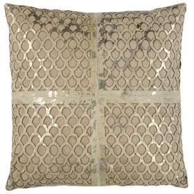 Metallic Fin Cowhide Pillow - Beige / Gold