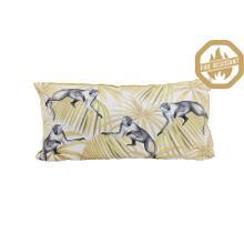 """66836460FR - MONKEY Pillow Velvet Yellow+White, Polyester Fill, 23""""x12"""""""