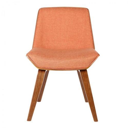 Armen Living Agi Mid-Century Dining Chair in Walnut Wood and Orange Fabric