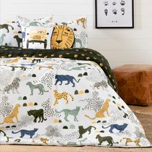 Dreamit - Kids Bedding Set Safari Wild Cats, White and Green, Full