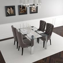 Frankfurt/Rizzo 5pc Dining Set, Chrome/Grey