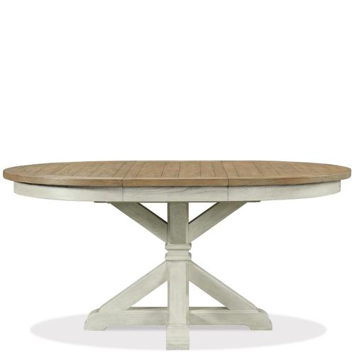 Southport - Round Dining Table Top - Smokey White/antique Oak Finish