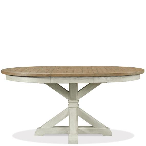 Riverside - Southport - Round Dining Table Base - Smokey White/antique Oak Finish