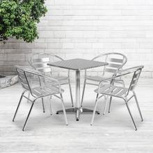 See Details - 23.5'' Square Aluminum Indoor-Outdoor Table Set with 4 Slat Back Chairs