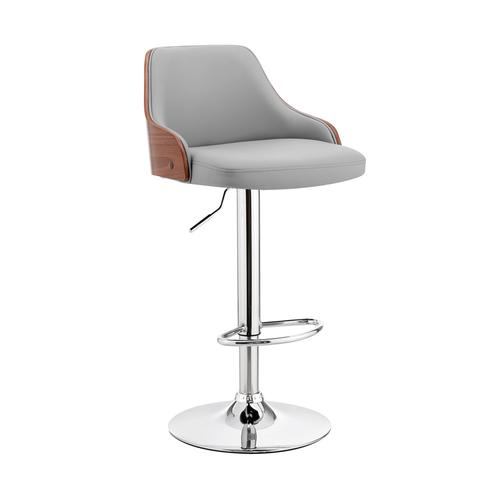 Armen Living - Asher Adjustable Grey Faux Leather and Chrome Finish Bar Stool