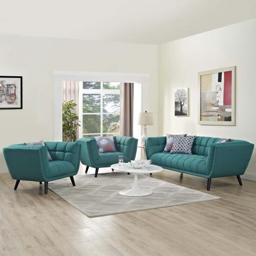 Bestow 3 Piece Upholstered Fabric Sofa and Armchair Set in Teal