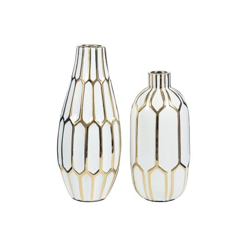 Vase Set Gold Finish/White