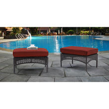 Hanover San Marino Ottoman Set with 2 Woven Ottomans with Cushions in Red, SMAR-2PCOT-RED