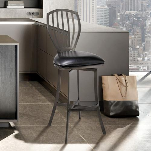"""Sandy Contemporary 30"""" Bar Height Barstool in Mineral Finish and Black Faux Leather"""