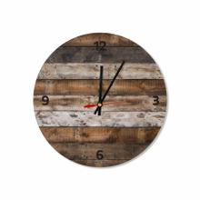 Rustic Wooden Background Round Acrylic Wall Clock