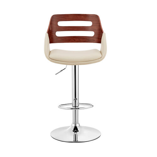 Armen Living - Karter Adjustable Cream Faux Leather and Walnut Wood Bar Stool with Chrome Base