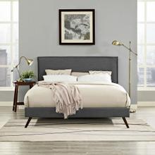 Amaris Queen Fabric Platform Bed with Round Splayed Legs in Gray