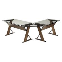 See Details - Eureka L-shap Desk With Corner and Return With Nickel Metal and Carmel Wood Finish