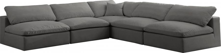 "Cozy Velvet Cloud Modular Down Filled Overstuffed Reversible Sectional - 118"" W x 120"" D x 32"" H"