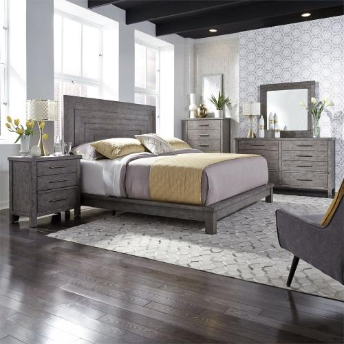 King Platform Bed, Dresser & Mirror, Chest, N/S