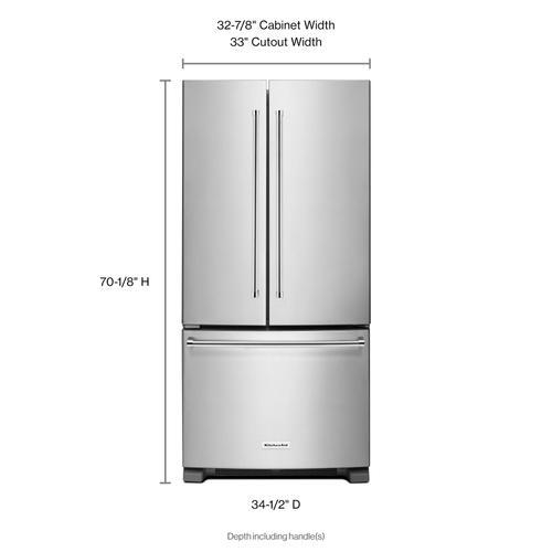 22 Cu. Ft. 33-Inch Width Standard Depth French Door Refrigerator with Interior Dispenser - Stainless Steel