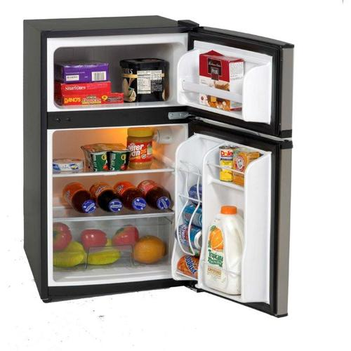 3.1 CF Two Door Counter high Refrigerator - Black w/Stainless Steel Doors / Excess Inventory / New In Box / No Warranty / CNTR O-06-01 / Linthicum Md. / ID:240703
