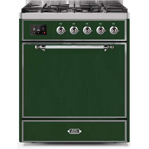 Product Image - Majestic II 30 Inch Dual Fuel Liquid Propane Freestanding Range in Emerald Green with Chrome Trim