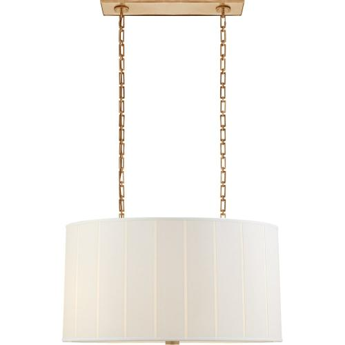 Visual Comfort BBL5031SB-S Barbara Barry Perfect Pleat 4 Light 36 inch Soft Brass Hanging Shade Ceiling Light, Oval
