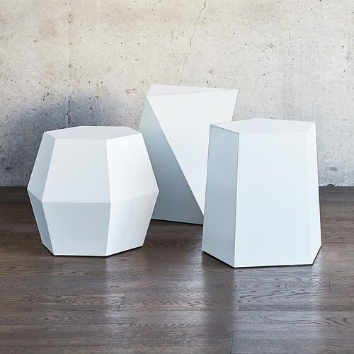 Facet-8 End Table White